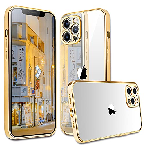 Compatible with iPhone 12 Pro Max Case, peafowl Clear Slim Soft Full Coverage Protective TPU Silicone Cell Case with 10 Color (Gold)