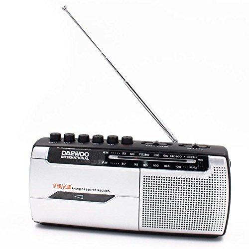 Radio Cassette Daewoo - Radio Analogica - Radio pequeña con Grabadora para Escuchar Cintas- Radio Sobremesa con Cable Incluido- Radio FM/AM, Altavoz Frontal, Salida Auriculares, Incopora Microfono, Bl