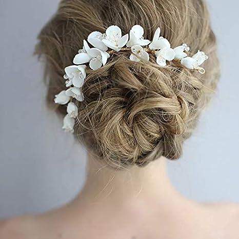 Porzellan Blume Braut Lange Haarkamm Zubeh/ör handgemachte Frauen Krone Mode Haarschmuck f/ür Hochzeit Prom Earrings
