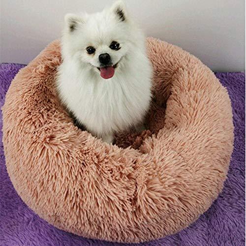PENVEAT Cama Redonda para Perros Lavable de Felpa Larga Perrera Casa para Gatos Alfombrillas de algodón súper Suaves Sofá para Canasta de Perros Cama para Mascotas, Polvo de Cuero, D40