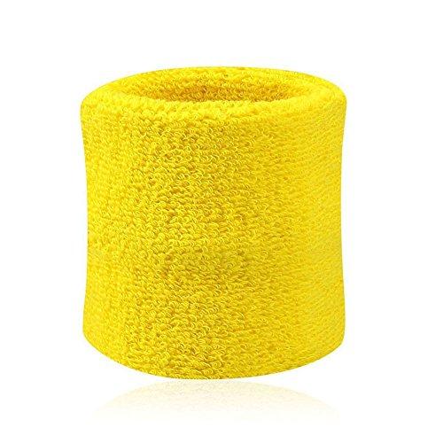 XQxiqi689sy Super weiche Handtücher Baumwolle Wristbands Schweißbänder Schweißband für Sport Tennis 2 Stück, gelb, Einheitsgröße