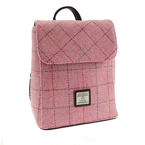 Glen Appin Genuine Scottish Harris Tweed Mini Backpack/Rucksack 'Tummel' in Bright Pink with Overcheck - LB1213-COL68