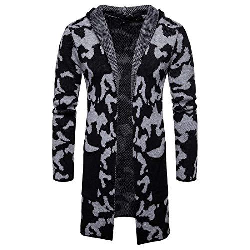 Yuyudou Heren Hooded Knitwear Jas, Casual Trench Jas Jack, Lange Vest Lange Mouw Outwear Losse Sweater Tops Overjas
