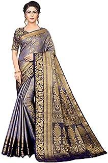 نيراف Exports Banarasi Kanjivaram الحرير مع ساري الجاكار التقليدي الغني (أرجواني)