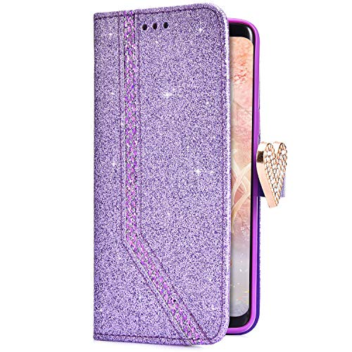 Uposao Coque iPhone 7,Coque iPhone 8 Housse Etui en Cuir PU Premium Housse à Rabat Portefeuille Pochette Coque Motif Coeur Briller Glitter Flip Case Housse Etui Coque pour iPhone 7/8,Violet