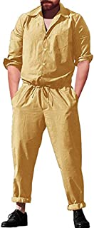 Mens Long Sleeve Cargo Overalls Pant Romper, Drawstring Jumpsuits Workwear