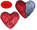 ML Pack 2 Kissen aus Plüsch mit Pailletten, Herzform, Rot, 20 x 18 cm, zur Dekoration Ihres...