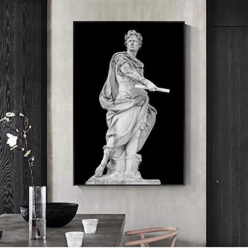 SYLSBAZGYS Römische Skulptur Caesar Statue Poster Leinwand Malerei Wandkunst Bilder für Wohnzimmer Dekoration-50x70cm Roll Leinwand