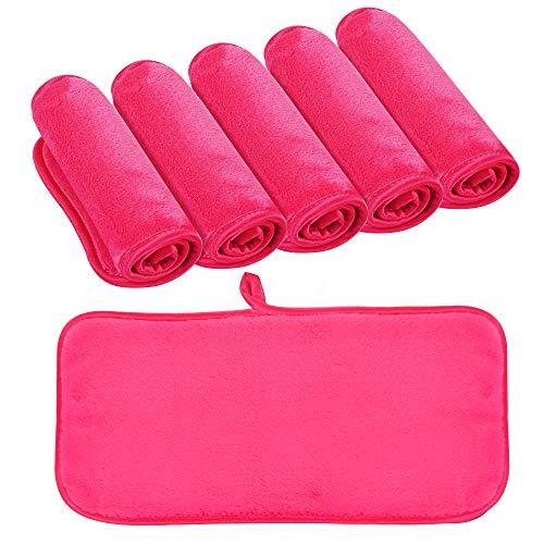 KinHwa Make-Up Entferner Tuch Ultraweich Abschminktuch Microfaser Gesichtsreinigungstücher Wiederverwendbar und Waschbar - 6 Stück Rosa - 15cm x 30cm