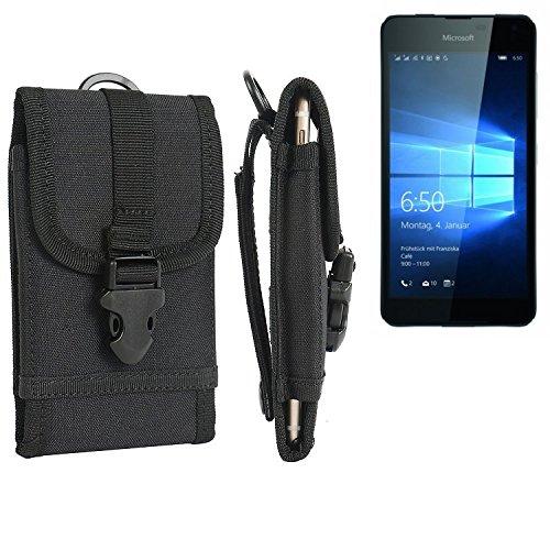 K-S-Trade® Handyhülle Für Microsoft Lumia 650 Dual-SIM Gürteltasche Handytasche Gürtel Tasche Schutzhülle Robuste Handy Schutz Hülle Tasche Outdoor Schwarz