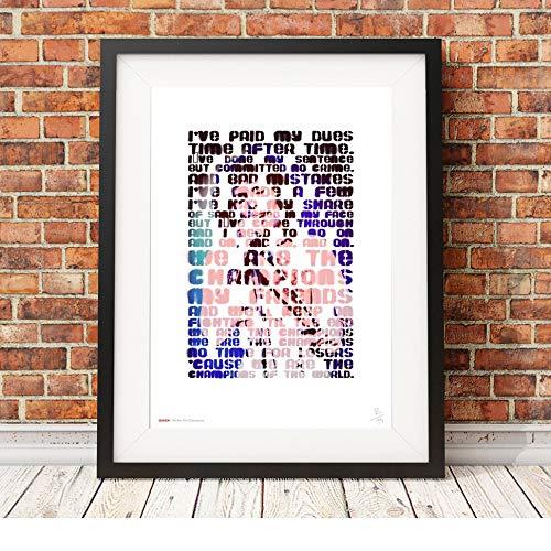 Freddie Mercury – Queen – We Are The Champions – Songtext – A3 Typografie Poster Kunstdruck, limitierte Auflage