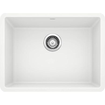BLANCO, White 522414 PRECIS SILGRANIT Single Bowl Undermount Kitchen Sink