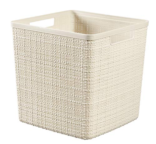 Keter Jute Basket 100% Plastic Recycled Square 17 L Large Off White