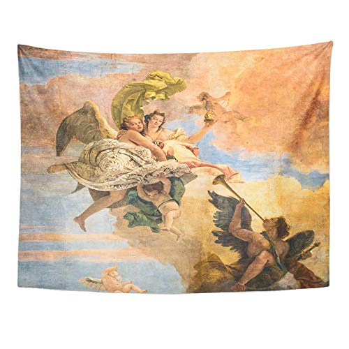 "AOCCK Wandteppiche, Tapestry Wall Hanging Vicenza Italy May 13 Detail of Painting Ceiling Little Church in The Town 60""x 80\"" Home Decor Art Tapestries for Bedroom Living Room Dorm Apartment"