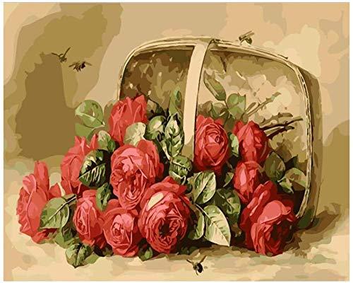 Kits de pintura por números dibujo al óleo preimpreso para adultos principiantes y niños con pinturas acrílicas y pinceles regalos de decoración del hogar canasta de rosas sin marco de 16 x 20 pulga