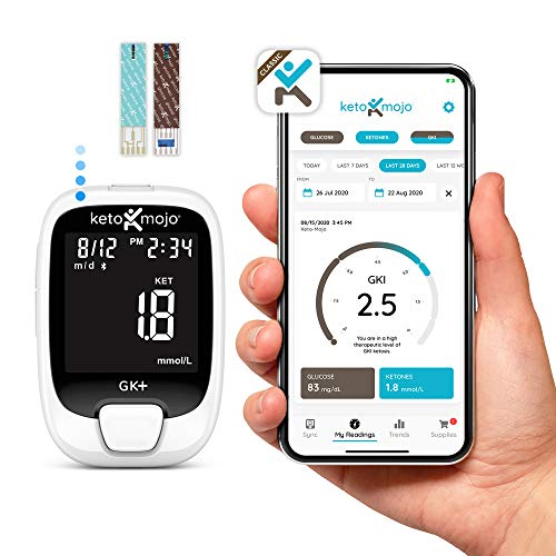 New KETO-MOJO GK+ Blood Glucose & β-Ketone Dual Monitoring System + APP, 20 Test Strips (10 Each), 1 Meter, 20 Lancets, 1 Lancing Device, and Control Solutions | Monitor Your Ketosis & Ketogenic Diet