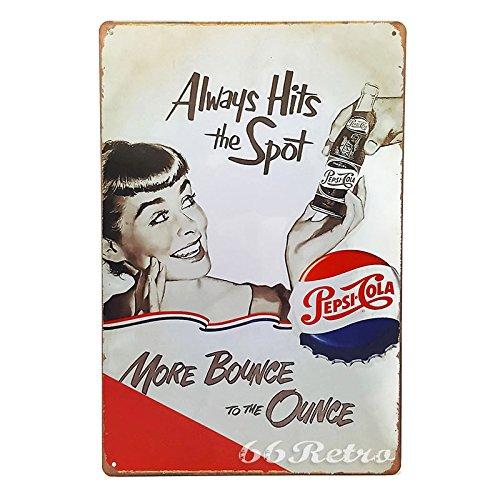 66Retro Always Hits the Spot, Pepsi Cola, Vintage Retro Metal Tin Sign, Wall Decorative Sign, 20cm x 30cm