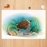 Alfombra de baño Antideslizante,Decoración del océano, Tortuga Marina Nada en el océano Tropical Mundo Submarino Acuario ilustrac Apto para Cocina, salón, Ducha (50x80 cm)