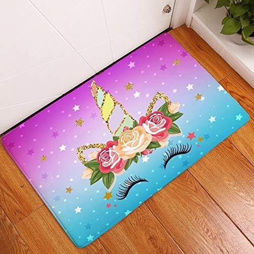Alfraza para exteriores al aire libre Historieta rosada del unicornio de oro antideslizante alfombra de baño del piso felpudo alfombra de la estera Juego colorido de la estrella for los niños del coch