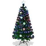 Goplus Albero di Natale Verde PVC con Stella di Natale e Luci Colorati a...