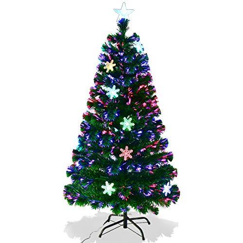 GOPLUS Albero di Natale Verde PVC con Stella di Natale e Decarazione Neve Cambiamento Automatico, Supporto in Metallo, Luci Variosi di Fibra, Altezza 120-210cm