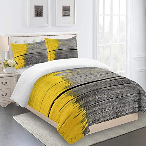 PKTMK Bedding Duvet Cover with 2 Pillowcases Printed Yellow creative wooden board Quilt Cover Set with Zipper Closure Anti-allergic Bedding For Kids adult Double 200x200cm
