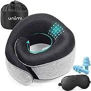 Reisekissen Unimi 2020 Nackenkissen aus Memory-Schaum,Nackenhörnchen mit weich und bequem bezogen/maschinenwaschbar, Flugzeugkissen mit Schlafmaske aus Seide, Ohrenstöpsel Tasche für die Reise