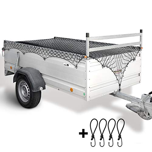 lampox Anhängernetz für Größen 1x2 m bis 2x3 m inkl. 4X Haken & Eckenmarkierungen dehnbar für Anhänger - Ladungssicherung - Hängernetz (schwarz)
