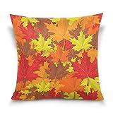 Funda de almohada decorativa para cojín cuadrado, diseño de hojas de arce rojas, amarillas, color rojo y amarillo, funda de almohada para sofá cama, funda de almohada de doble cara, 40,6 x 40,6 cm