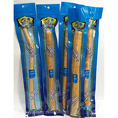 Alkhair Miswaks pflanzliche Zahnbürste aus Holz des Peelu-(Alarak)-Baums für die natürliche Zahnpflege, 5 Stück, vakuumverpackt, 20cm lang