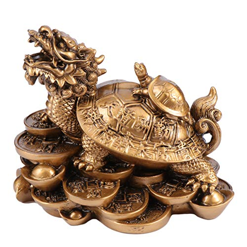 WINOMO Chinese Feng Shui Dragon Turtle Statue Resin...