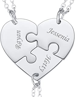 U7 BFF Necklace for 2/3/4/5/6 Stainless Steel Chain Personalized Family Love/Friendship Jewelry Set Free Engraving Heart Pendants