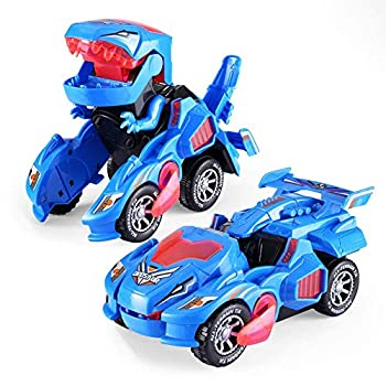 Likayble Dinosaur LED Car Toys for Kid Boys ,Transforming Toys 2 in 1 Transforming Automatic Dinosaur Dino Transformer Toy Car Lamps for Kids,Toddlers   Ages 1-12   Blue