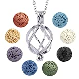 Essential Oil Diffuser Necklace Twisted Ball Aromatherapy Locket Pendant with 8 Lava Stone Balls 0.24'