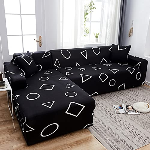 MKQB Moderner L-förmiger Ecksofabezug für Wohnzimmer, elastischer Stretch-Sofabezug, Rutschfester Haustierschutz-Sofabezug NO.14 S (90-140cm)