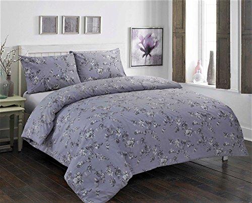 Luxury Clair Reversible Duvet/Quilt Cover Bedding Sets (Double, Clair Grey)