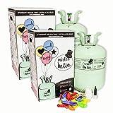 Pack 2 Bombonas de Helio Desechables Mister Helio (Para 60 Globos de látex incluidos). La botella de Helio más molona