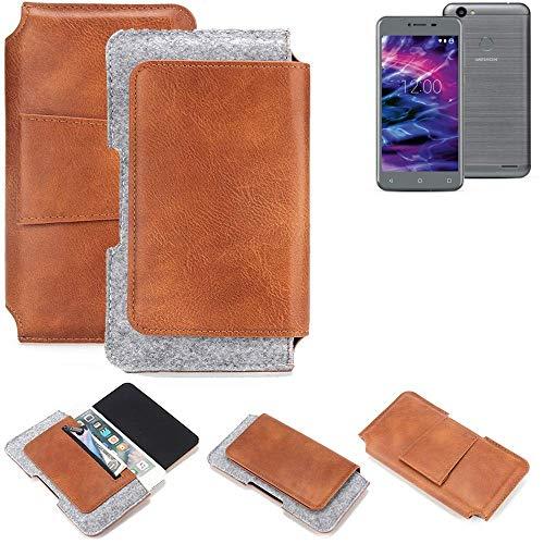 K-S-Trade® Schutz Hülle Für Medion Life E5008 Gürteltasche Gürtel Tasche Schutzhülle Handy Smartphone Tasche Handyhülle PU + Filz, Braun (1x)