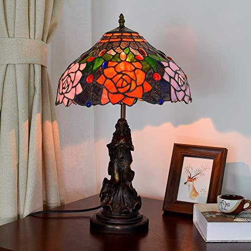 Nuofake Vintage Rose Tiffany Stil Tischlampe Wohnzimmer Esszimmer Schlafzimmer Nachttischlampe EU Stecker 220V Beleuchtung 7W Farbglas Tischlampe Innenbeleuchtung