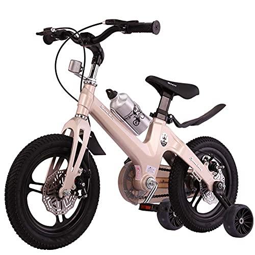 Bicicletas para niños, niños y niñas 12/14/16 pulgadas 2-9 años Bicicletas para niños, niños y niñas Scooter infantil, Bicicletas, oro 35,56 cm