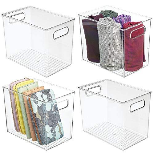mDesign 4er-Set Aufbewahrungsbox mit Griffen – Kunststoffkiste zur Kleideraufbewahrung, für Schuhe etc. – auch als Box für Bastel- und Büroutensilien geeignet – durchsichtig