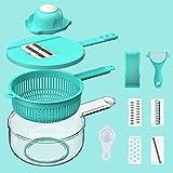 XKMY Ralladores para cocina multifuncionales de mandolina de verduras, rallador de patatas, cortador de frutas, picador de ajo, cesta de drenaje, utensilios de cocina 2021 (color : TMBU)
