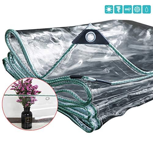Lonas Transparente,Lona de Protección Transparente Sala de Sol Aire Libre Planta Resistente a Lluvia Anti-UV Cortina Extra Grueso 0.5mm Cubierta de Vidrio Blando PVC,600g / ? (1.6x3m/5.2x9.8ft)
