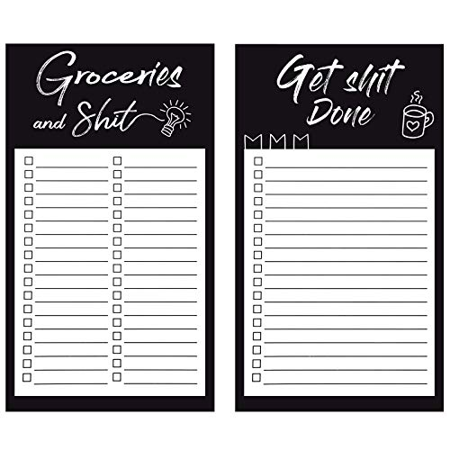 2 Packs Magnetic Grocery List Pads, Grocery List Pads Funny Tear Off Grocery Notepad for Fridge Refrigerator Memo List Reminders, 4.5 x 7.8 Inches (Classic Style)