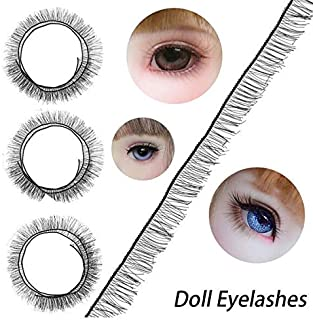Keledz 20PCS Doll Eyelashes Strips BJD Doll Eye Make Up Accessory Reborn Baby Dolls Eye Lashes for Doll DIY Craft Making 200 x 8mm Black