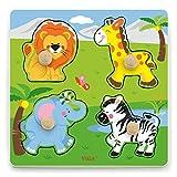 VIGA-50840 New Classic Toys 50840viga–Juguetes–Grande de Madera Rompecabezas–Animales Salvajes