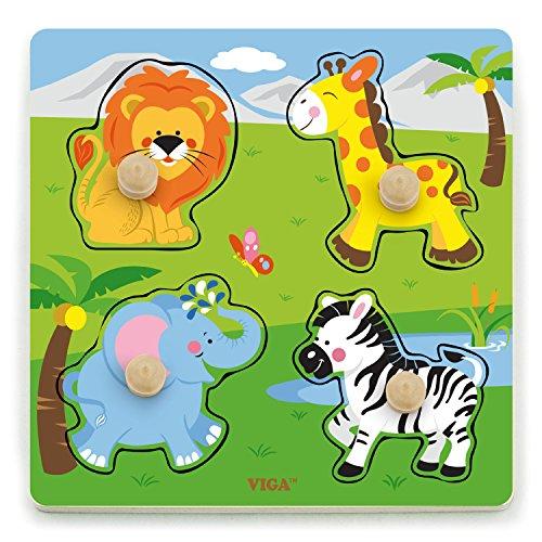 VIGA 50840 Toys-Steckpuzzle-Wildtiere, Multi Color