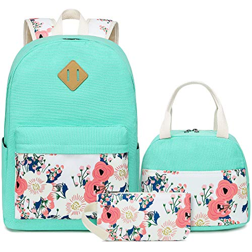 CAMTOP School Backpack Girls Bookbag Set Student School Bags 3 in 1, Laptop Backpack, Lunch Box, Pencil Case, Floral, Mint Green