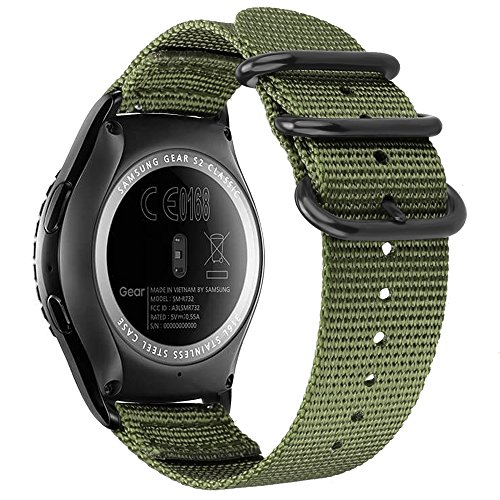 Fintie Bands Compatible with Galaxy Watch 42mm / Gear Sport, 20mm Soft Nylon Replacement Strap Band with Adjustable Closure Compatible with Samsung Gear S2 Classic Smartwatch, Olive
