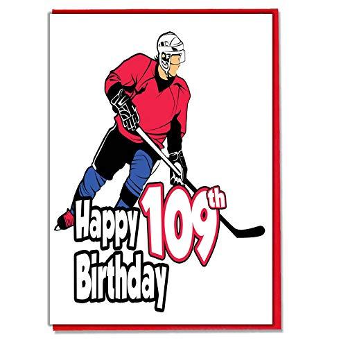 Eishockey Geburtstagskarte zum 109. Geburtstag, für Herren, Sohn, Enkel, Vater, Bruder, Ehemann, Freund, Freund